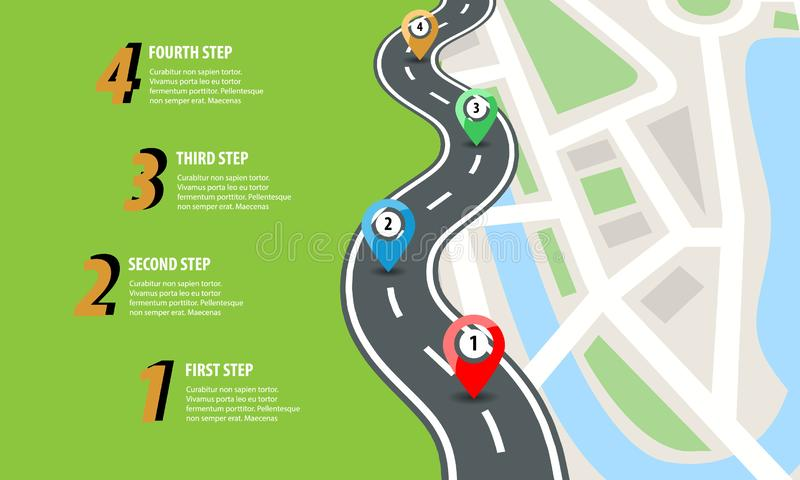 Flat color style Highway road infographic. Street roads map with colorful pins. Vector illustration. royalty free illustration