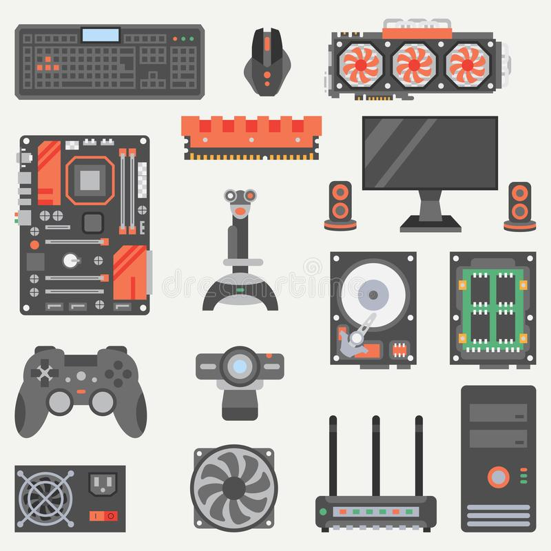 Flat color vector computer part icon set. Cartoon style. Digital gaming and business office pc desktop device. Innovation electronic gadget. Internet vector illustration