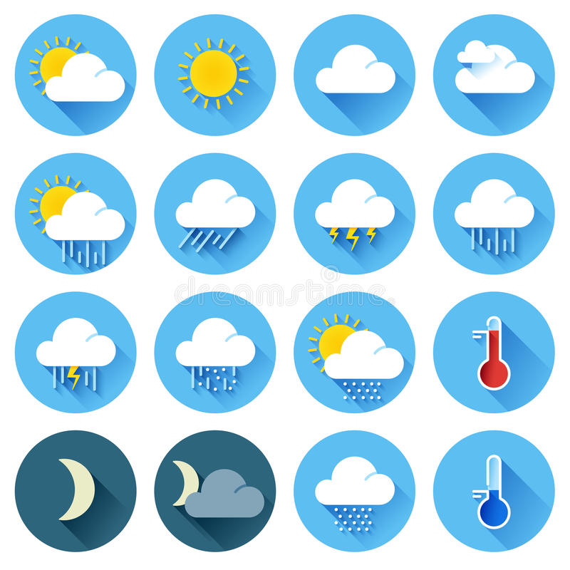 Flat color weather icons vector illustration