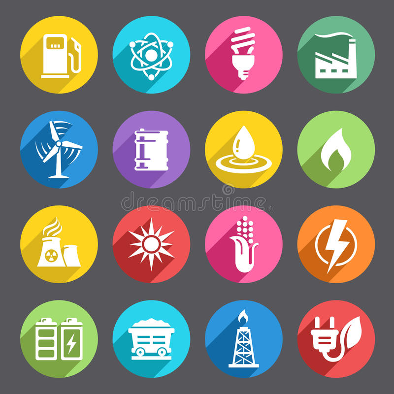 Flat colored Energy Icon Set. A vector icon set with 16 Energy production/saving/Environment themed icons