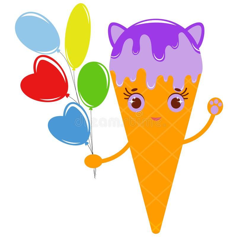 Flat colored isolated striped ice cream in a waffle cup sprinkled with syrup of purple. With small cat ears. With a bunch of royalty free illustration