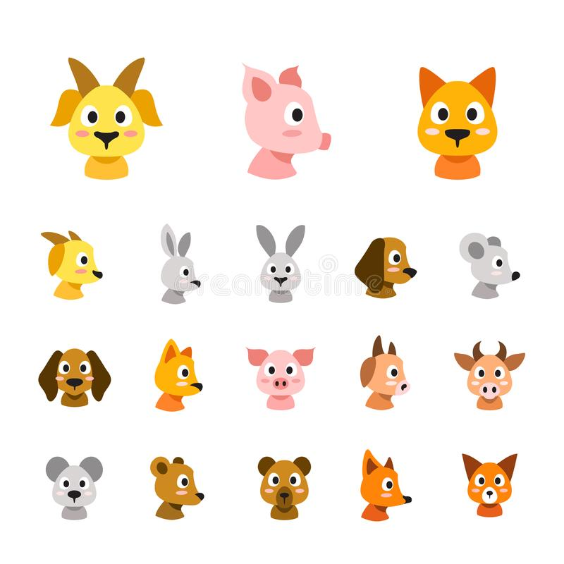 Flat colored style animal faces icon set stock illustration