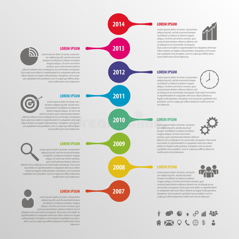 Flat colorful abstract timeline infographics vector royalty free illustration