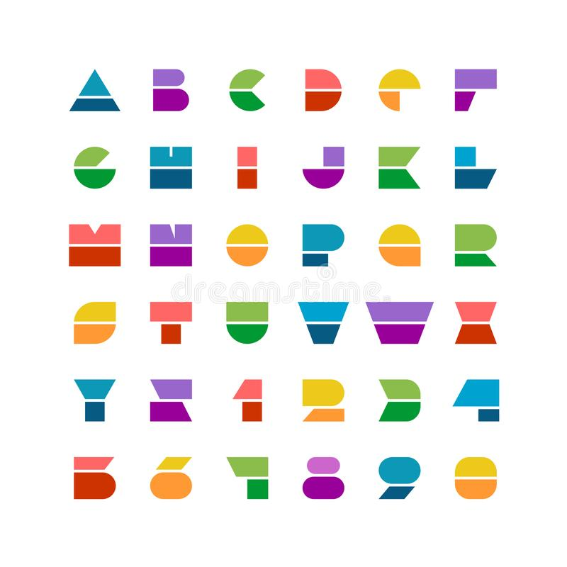 Flat colorful geometric shapes letters style font with numbers. On a white background stock illustration