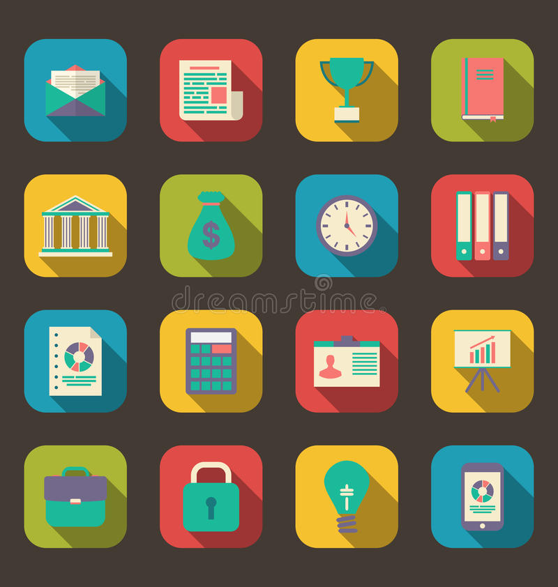 Flat colorful icons of web business and financial objects, long vector illustration