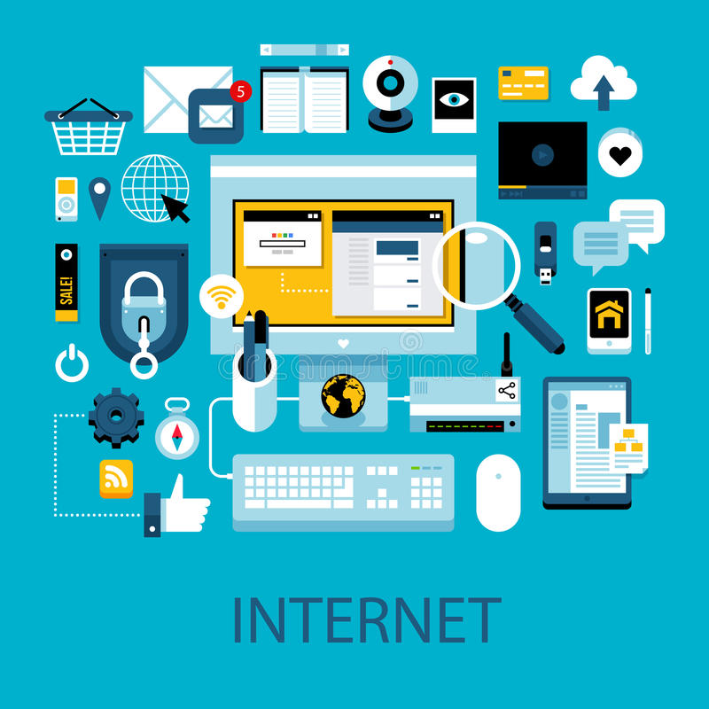 Flat colorful illustration about internet and web technologies. Big set of icons and graphic elements stock illustration