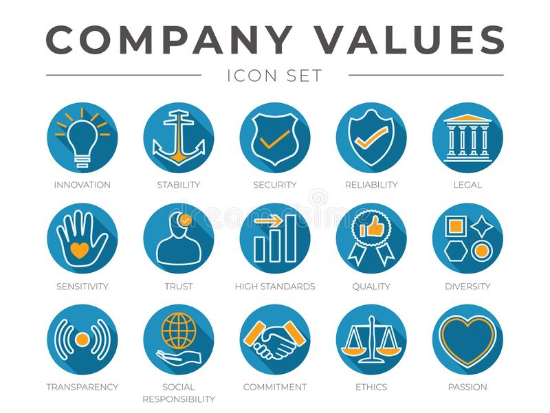 Flat Colorful Outline Company Core Values Icon Set. Innovation, Stability, Security, Reliability, Legal, Sensitivity, Trust, High stock illustration