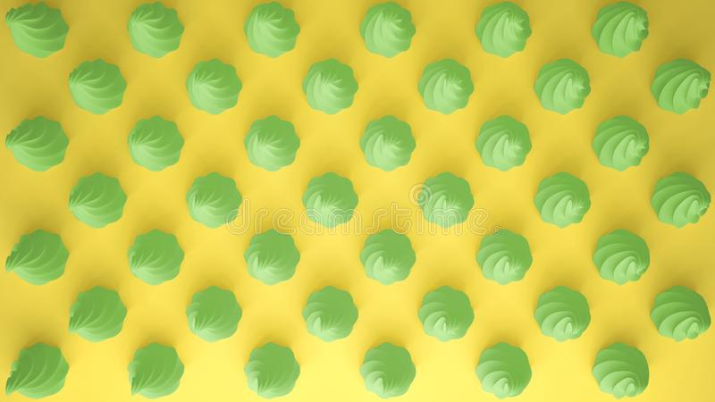 Flat colorful pop art composition with green party cupcakes, bakery goodies, on yellow background, pattern texture copy royalty free illustration