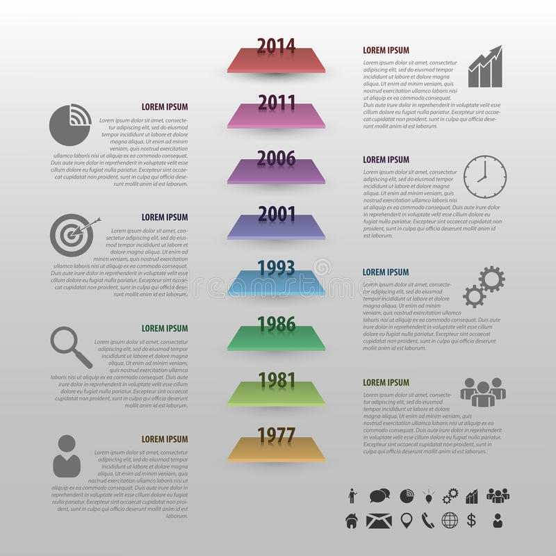 Flat colorful timeline infographics vector with stairs vector illustration