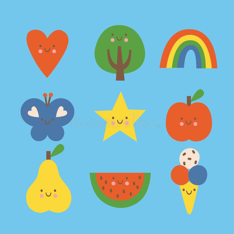 Flat colorful vector illustration set. Heart, tree, rainbow, butterfly, star, apple, pear, watermelon and ice cream royalty free illustration