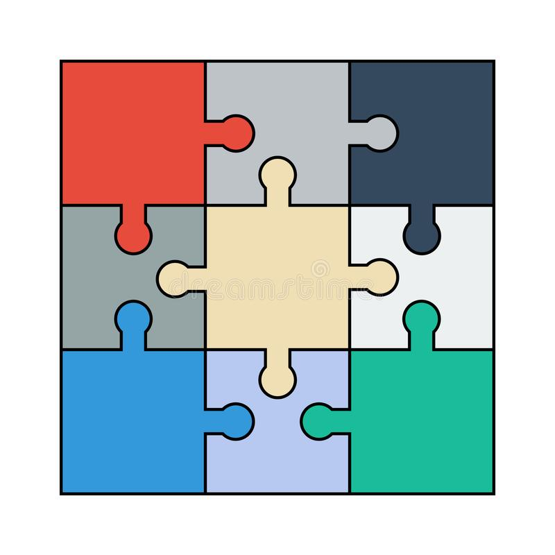 Download Flat Colourful Jigsaw Puzzle Icon Logo Stock Vector