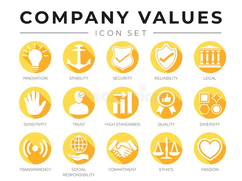 Flat Company Core Values icon Set. Innovation, Stability, Security, Reliability, Legal, Sensitivity, Trust, High Standard, Quality royalty free illustration