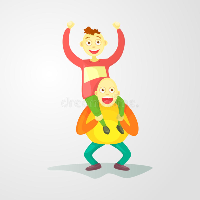 Flat composition, young guys one on one& x27;s shoulders, a crazy trick. Isolated on white background. Cartoon style stock illustration