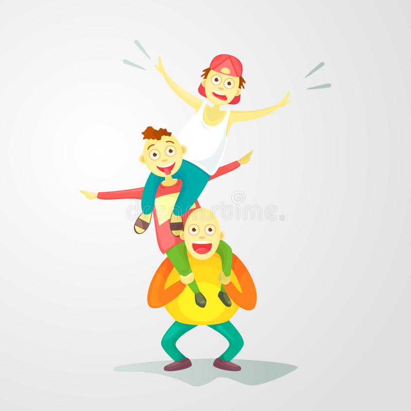 Flat composition, young guys one on one`s shoulders. Flat composition, young guys one on one`s shoulders, a crazy trick isolated on white background. Cartoon stock illustration
