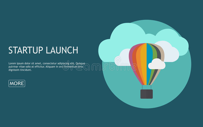 Flat concept background with hot air balloon. Project start up - stock illustration