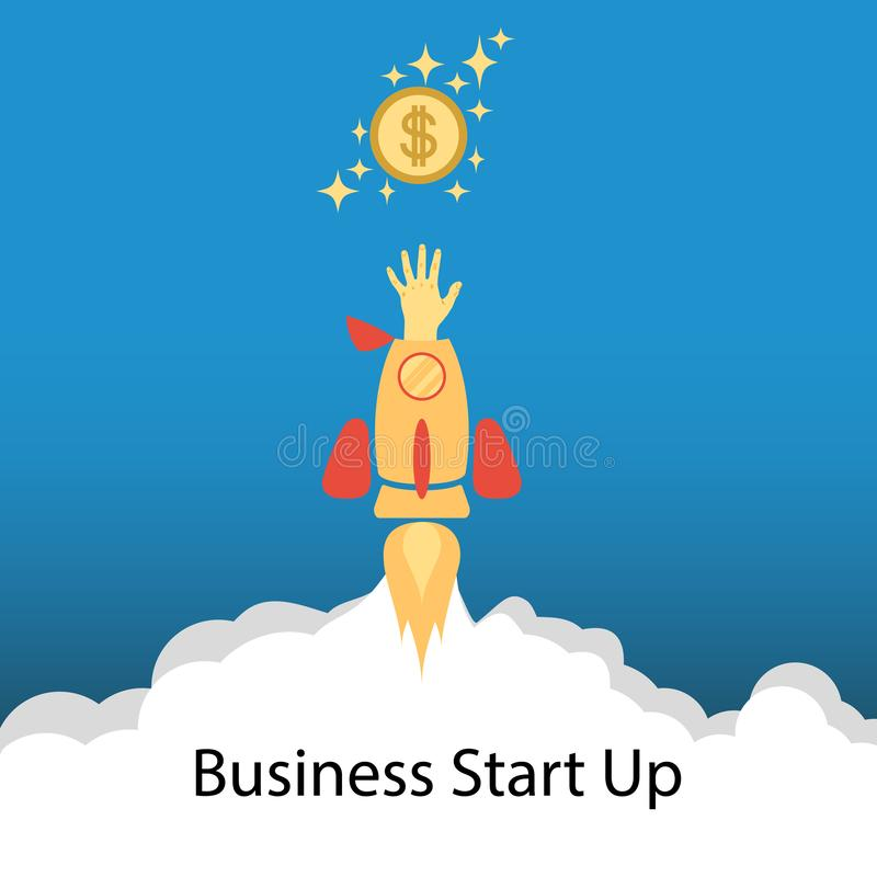 Flat concept background with rocket. Hand reaching for the coin. Startup business project. Vector. stock illustration