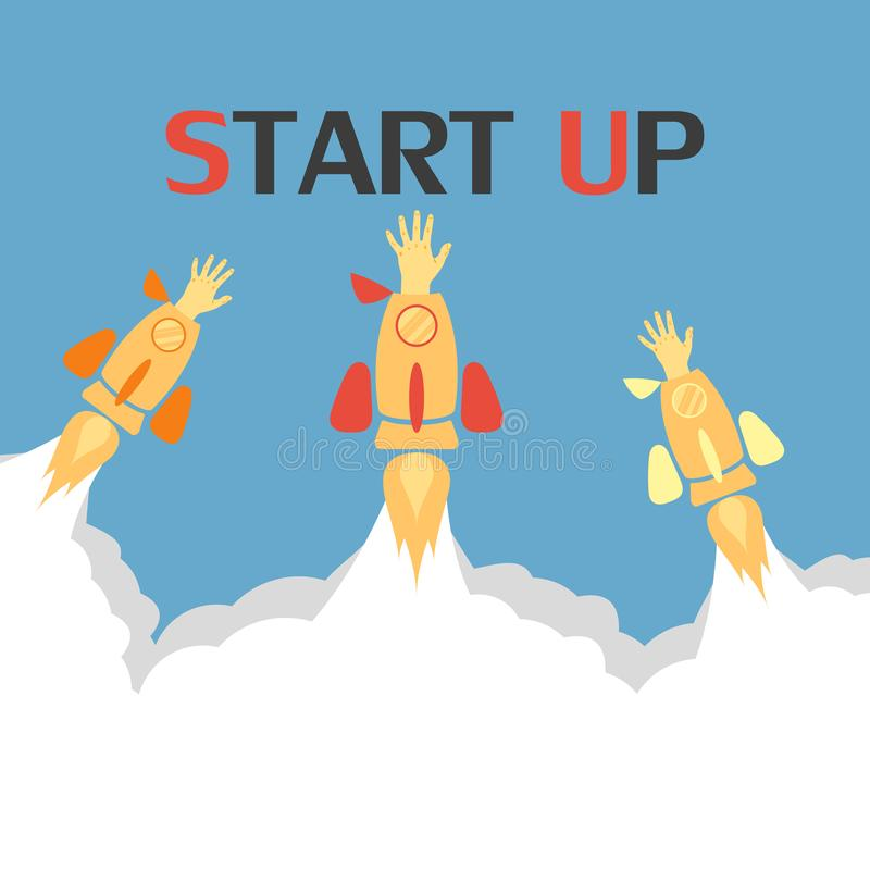 Flat concept background with rocket. Hand reaching for success. Startup business project. Vector . stock illustration