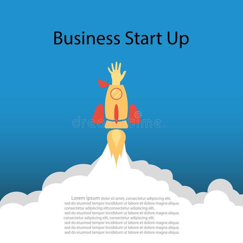 Flat concept background with rocket. Hand reaching for success. Startup business project. Business. Vector . stock illustration