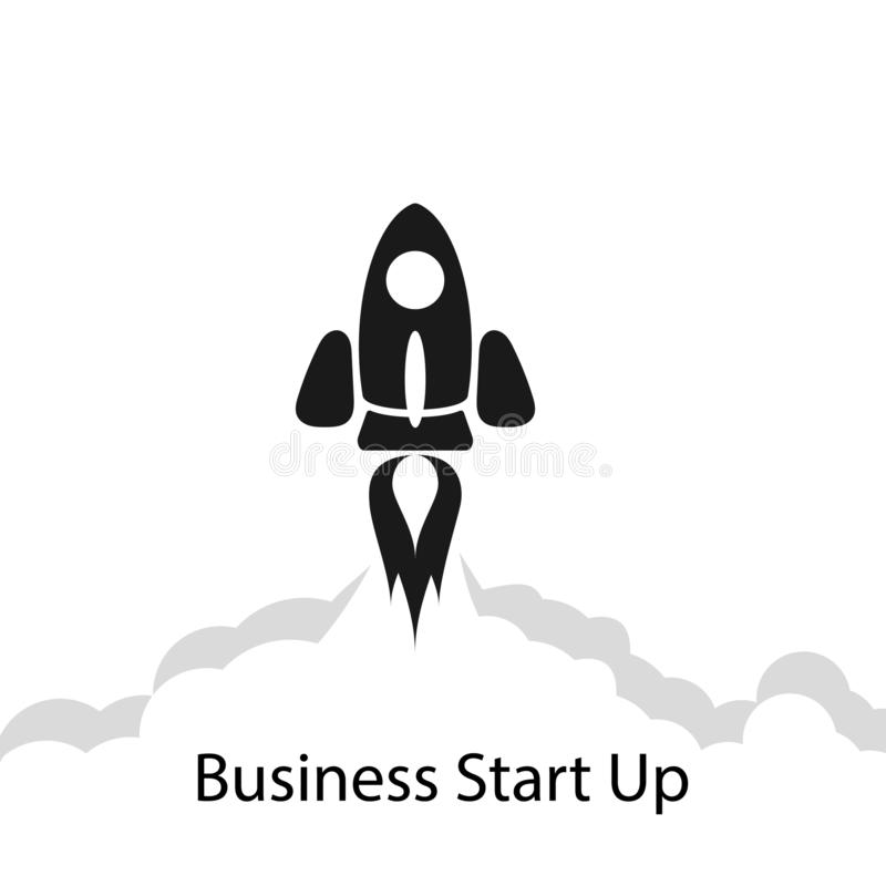 Flat concept background with rocket monochrome. Startup business project. Vector. vector illustration