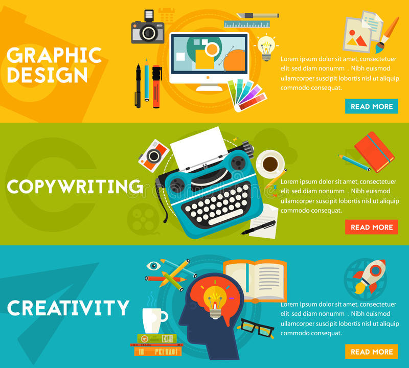 Flat concept banners. Graphic Design, Copywriting, Creativity royalty free illustration