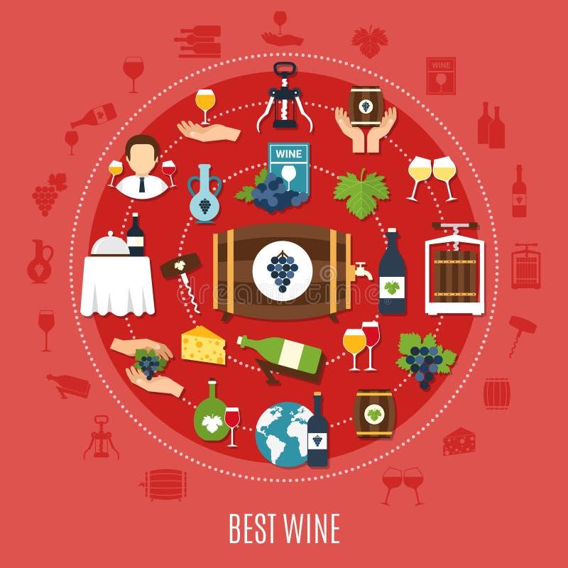 Best Wine Flat Concept stock illustration