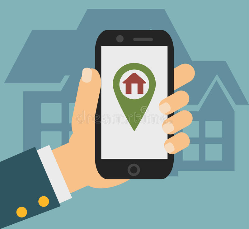 Flat concept - hand holding mobile phone with gps app on the screen stock illustration