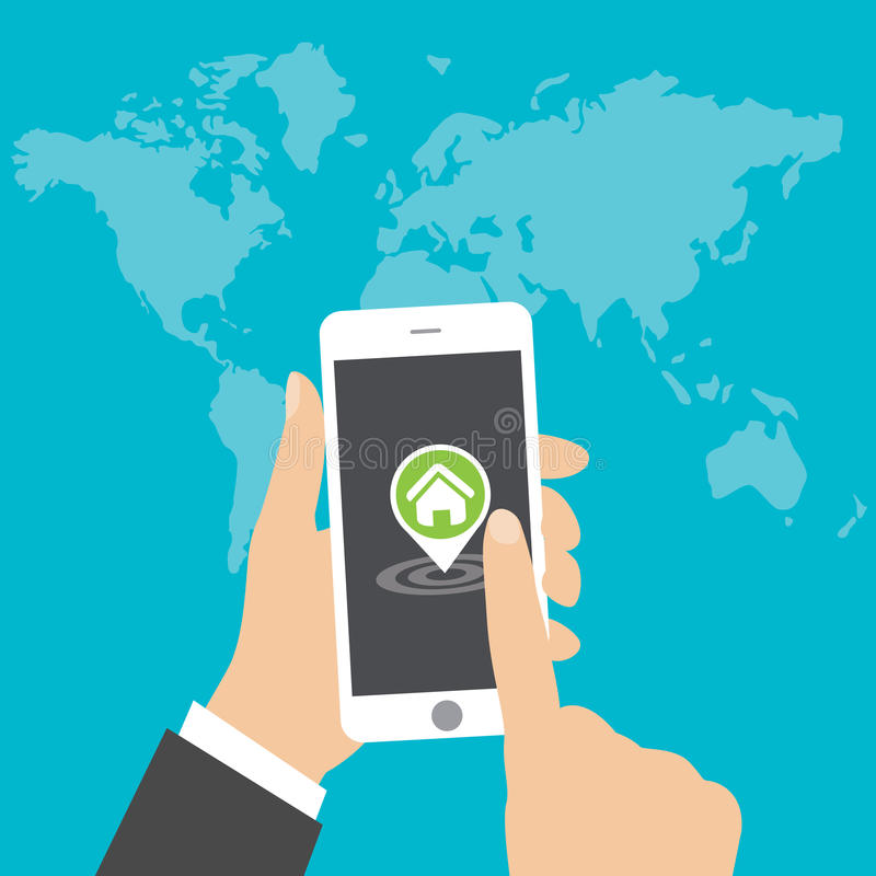 Flat concept - hand holding mobile phone with gps app on the screen - searching for a house vector illustration