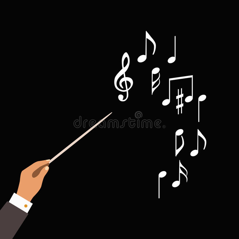 Flat concept of music orchestra or chorus conductor. Vector illustration for musical design royalty free illustration