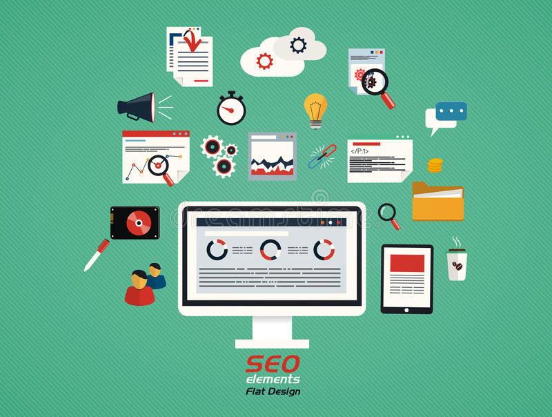 Flat concept of seo process- SEO. Data analysis. Vector vector illustration