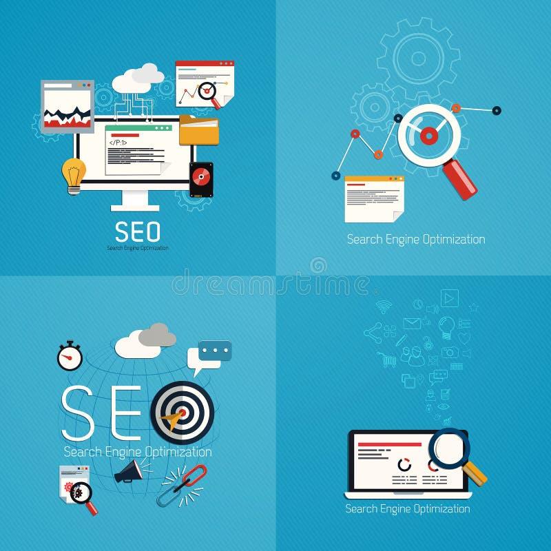 Flat concept of seo process- SEO. Data analysis. Vector stock illustration