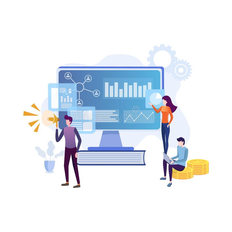 Flat concept team of specialists working on digital marketing strategy landing page. stock illustration