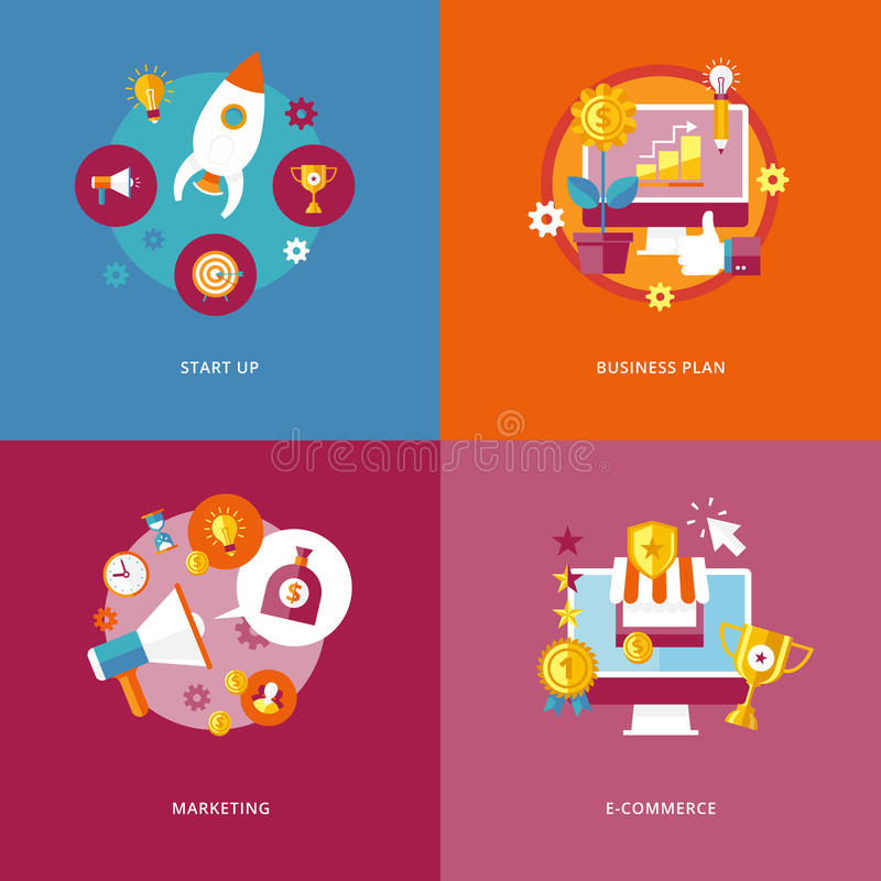 Flat concepts startup, business plan, marketing, commerce. vector illustration
