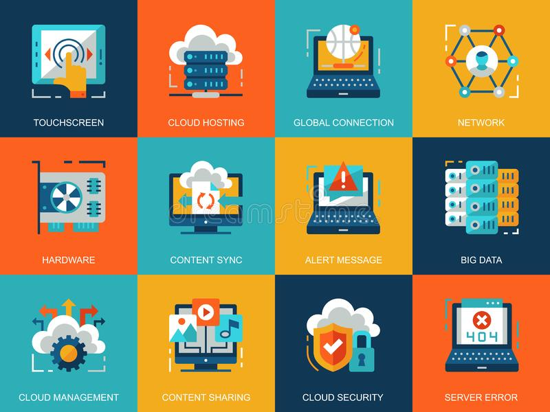 Flat conceptual cloud technology icons concepts set for website and mobile site and apps. stock illustration