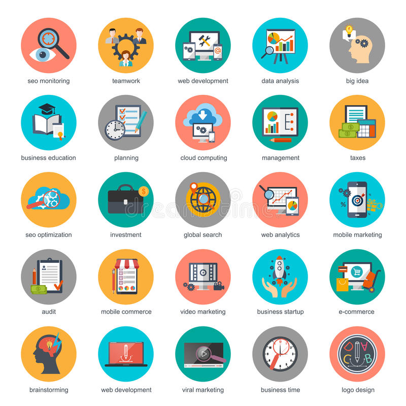 Flat conceptual icons set of seo monitoring and digital marketing vector illustration