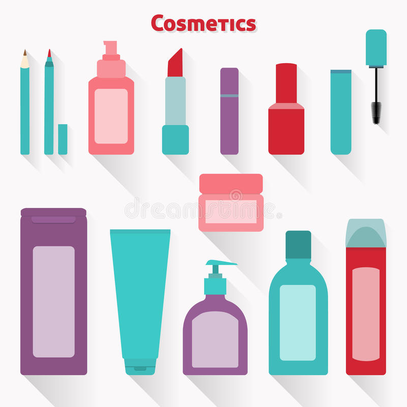 Flat cosmetic icons set. Collection of flat makeup and cosmetic icons vector illustration