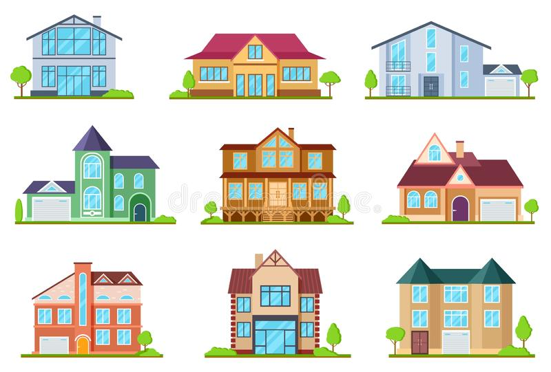 Flat cottages. Modern cottage houses suburban property. Buildings design for app interface. Architectural home exterior. Vector set. Cottage house, property royalty free illustration