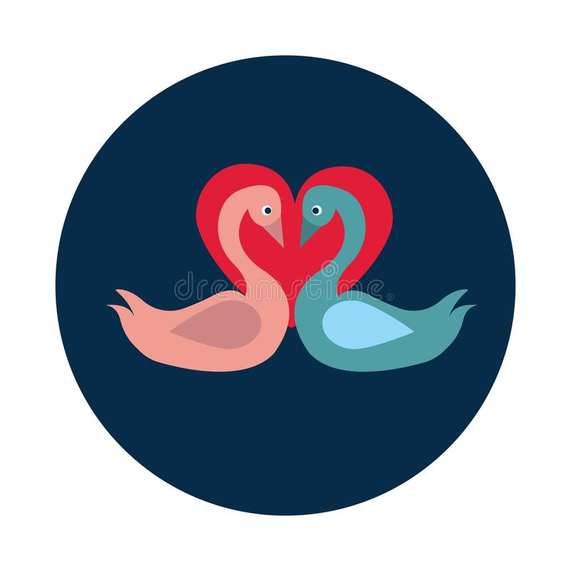 Flat Couple of swans in love on white background royalty free illustration