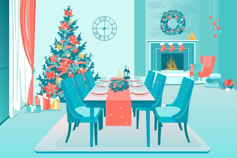 Flat Cozy Living Room met Nieuwjaarsdecoratie vector illustratie