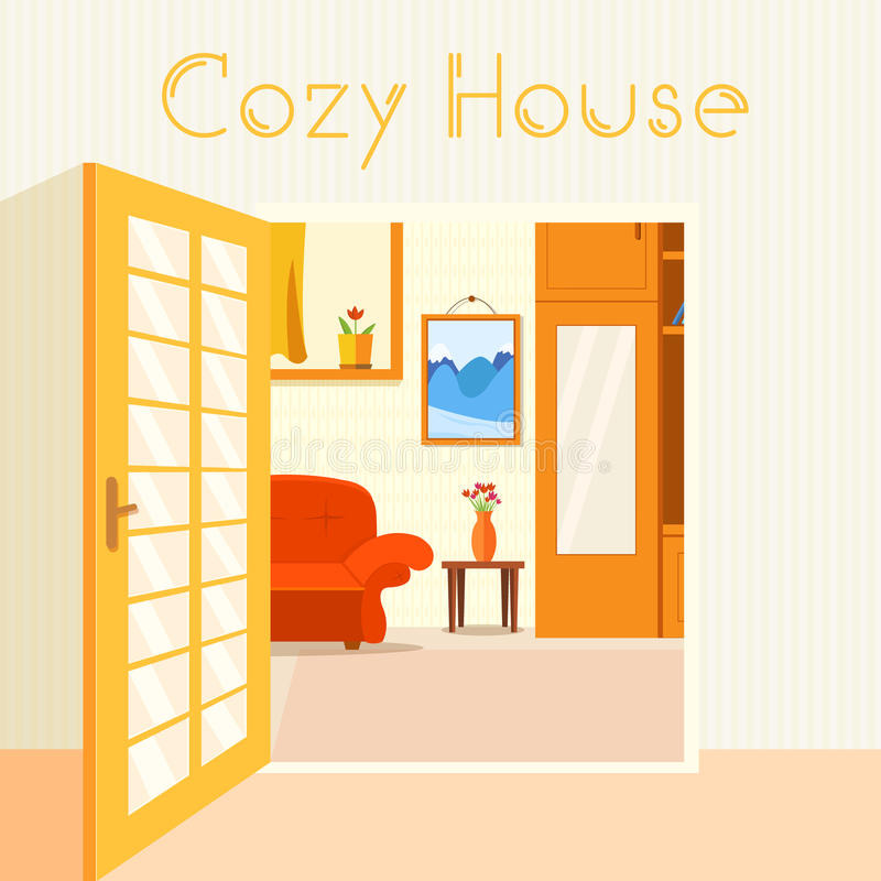 Cozy Living Room Vector Illustration: Flat Cozy Room In House With Open Doors Background Stock