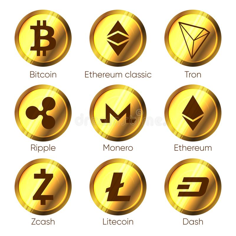 Flat cryptocurrencies icons of zcash, dash, tron, bitcoin, ether royalty free illustration