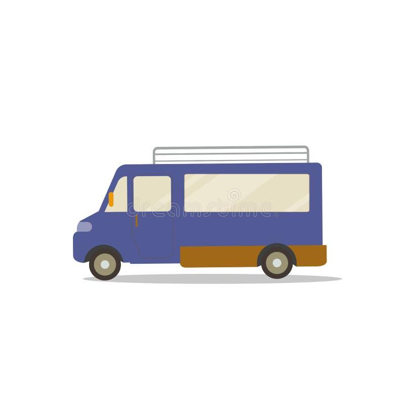 Flat cute cartoon blue van design with isolated white vector.Mini bus flat style.Travel Car stock illustration
