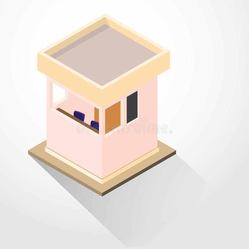Flat 3D Design Security Lodge Isometric Vector Illustration Stock
