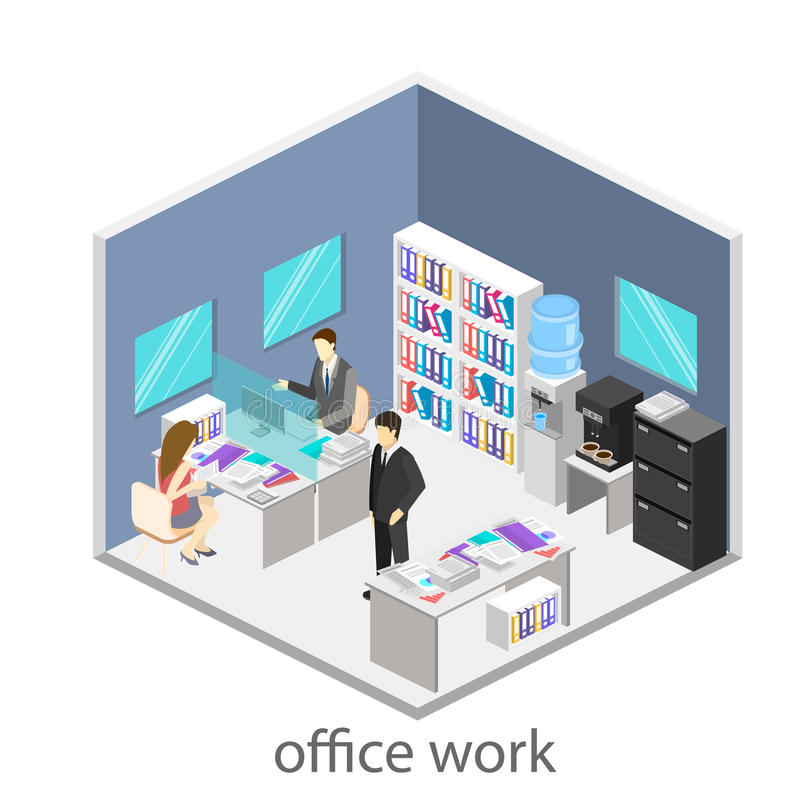 Flat 3d isometric abstract office floor interior departments concept . Office life. Office workspace. People working in offices. Office room. Offices with royalty free illustration
