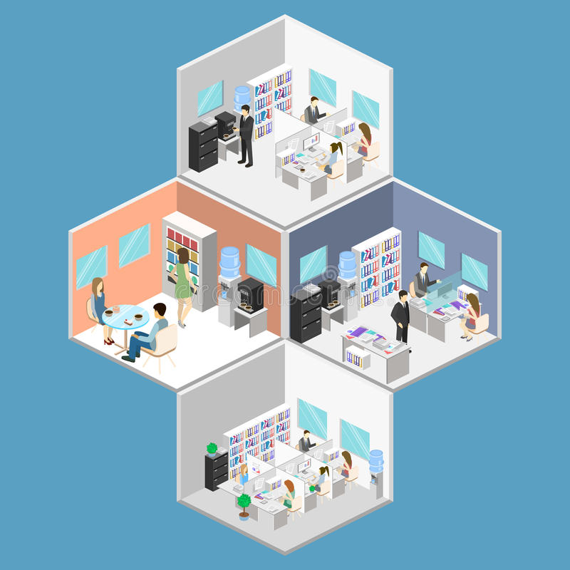 Flat 3d isometric abstract office floor interior departments concept . People working in offices. stock illustration