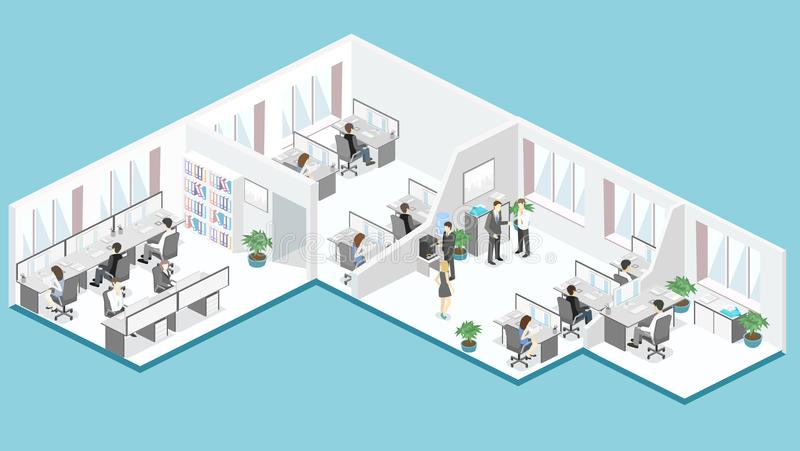 Flat 3d isometric office floor interior departments concept vector. royalty free illustration