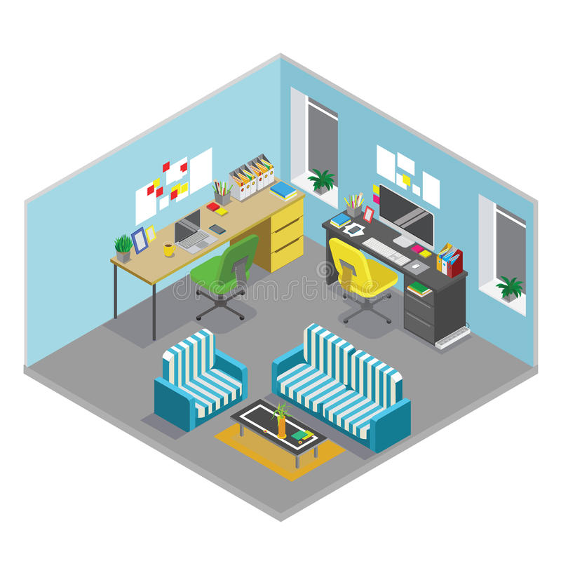 Flat 3d isometric abstract office floor interior departments concept vector. stock illustration