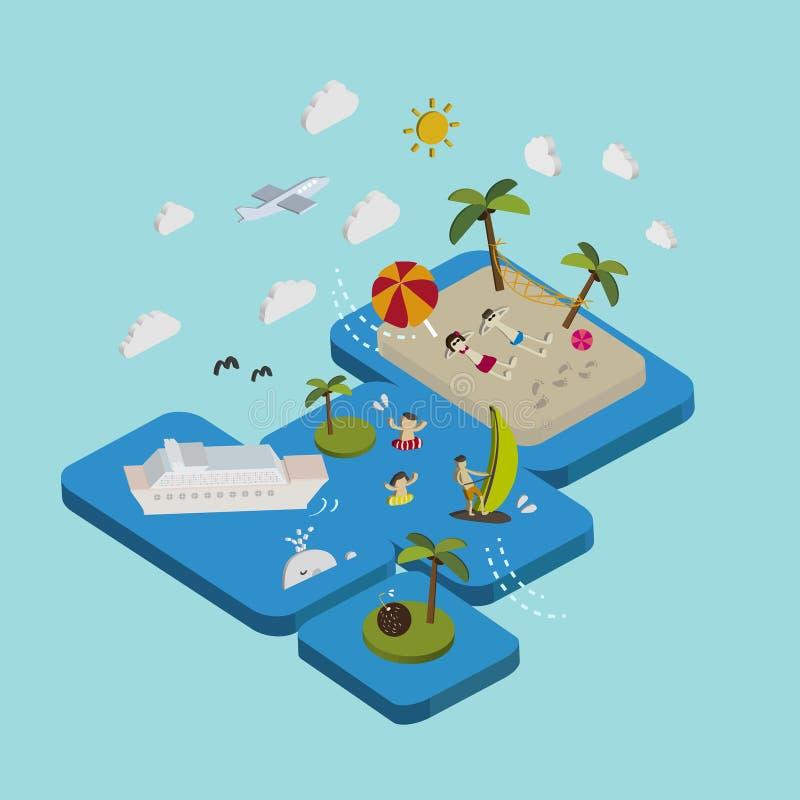 Flat 3d isometric beach vacation illustration stock illustration