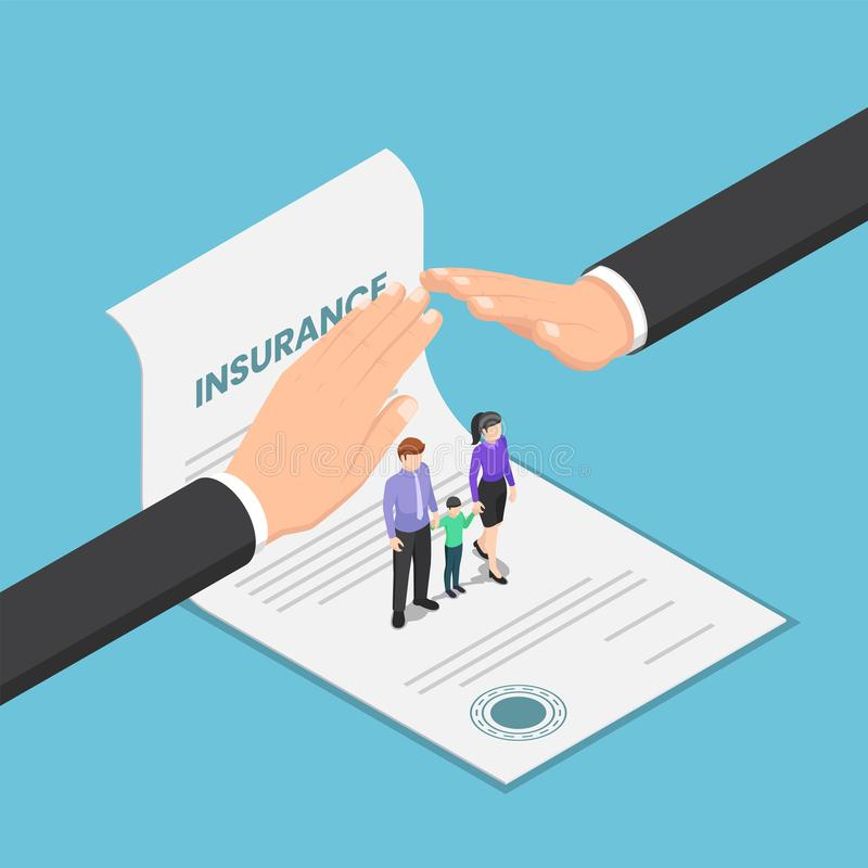Isometric big businessman hand protect the family that standing on insurance document vector illustration