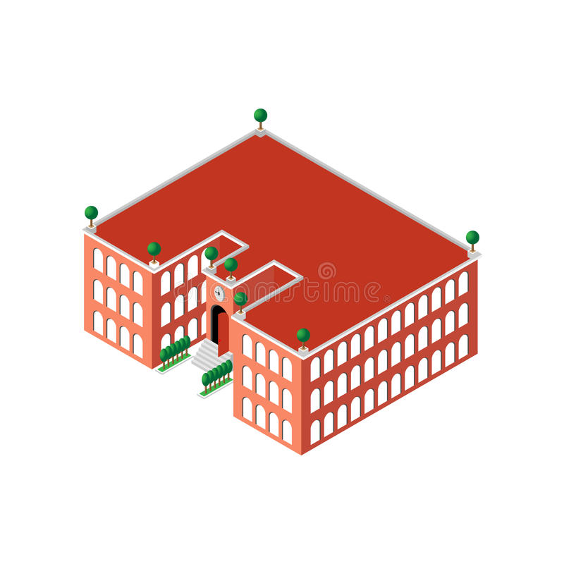 Flat 3d isometric building school or university with a clock and an open door as well as with green trees and bushes. Near the school on the roof. for games royalty free illustration