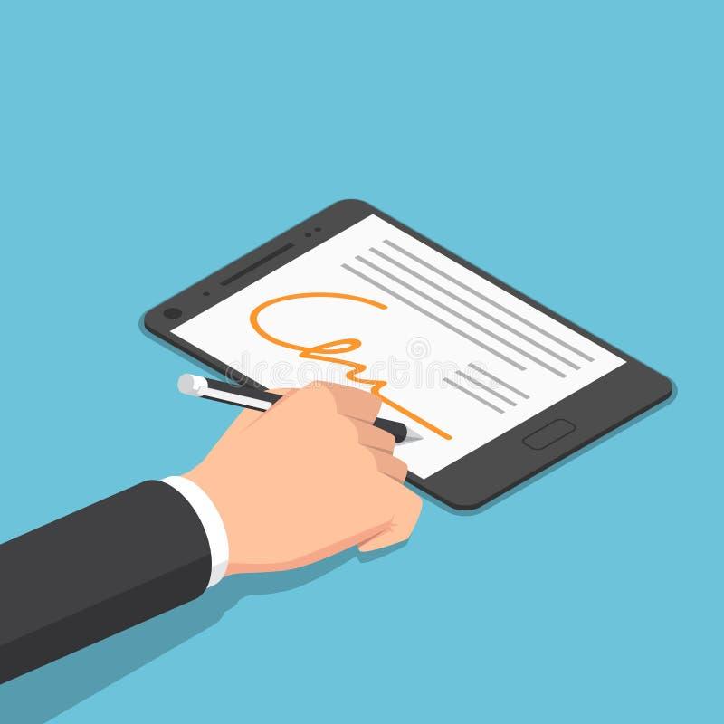 Isometric businessman hand signing digital signature on tablet vector illustration